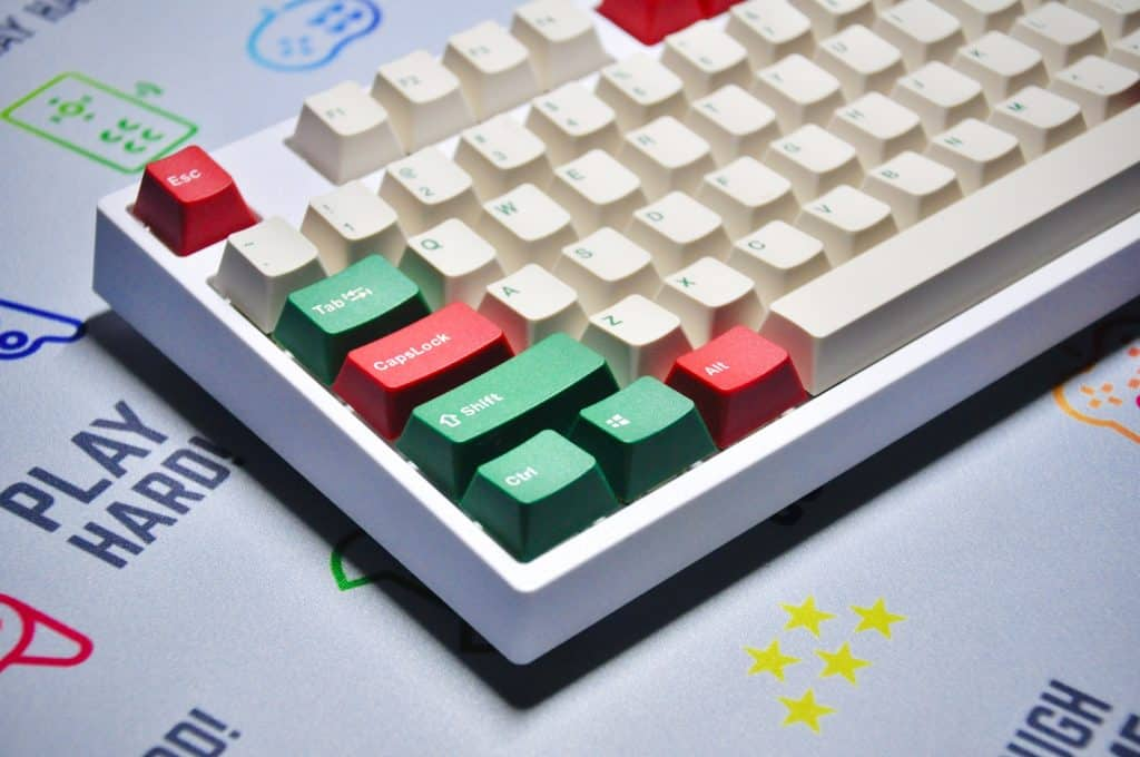 white and red computer keyboard